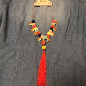 Boutique Pom Pom necklace w/ tassel